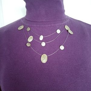 💗Hammered Brass Triple Wire Strand Necklace